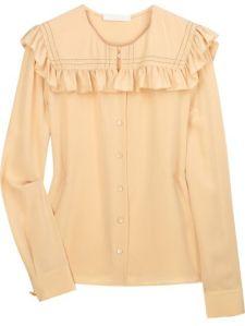 Chloé, Ruffled silk crepe de Chine blouse