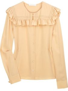 Chloé, Ruffled silk crepe de Chine blouse