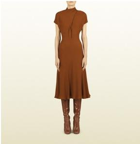 Gucci – Rust Embossed Motif Cross Front Dress