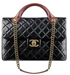 Chanel – Flap Bag in Calfskin with Handles and Chain Shoulder Strap